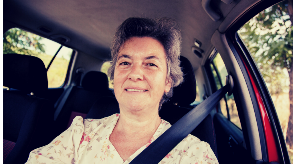 Showing a Woman Over Aged 60 is Driving